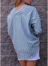 Blusa suelta a rayas con cuello en V para mujer Blusa suelta con borde asimétrico en las mujeres
