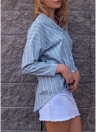 Women Striped V Neck Button Front Asymmetric Hem   Loose Blouse