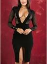 Sexy Sheer Deep V-neck Long Sleeve Club Pinstripe Women's Bodycon Dress