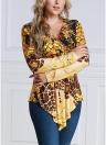 Contraste Feminino Imprimir Blusa De Hem Blusão De V-Pescoço