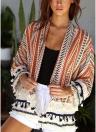 Cardigan allentato stampato in crochet con giacca in pizzo da donna