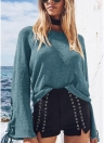Bell Manches Pull Tricoté Lace Up Oeillets O Cou Loose Casual Top