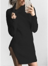 Women Casual Winter Solid Knitted Sweater Dress