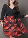 Sexy Frauen Plus Size Kleid Plunge V-Ausschnitt Print Elegantes Knie-Länge Kleid