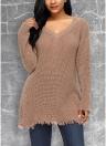Frauen Tiefem V-ausschnitt Aushöhlen Gestrickte Schulter Gestrickte Pullover Pullover