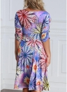 Women Plus Size Colorful Floral Print V Neck Half Sleeve Midi Dress