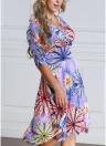 Women Plus Size Colorido Floral Print V Neck Meio manga vestido Midi