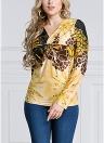 Damen Plus Größe Leopardenmuster Langarm Verdrehte Front Pullover T-Shirt