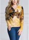 Mulheres Plus Size Leopard Print Long Sleeve Twisted Front Pullover T-Shirt