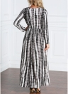 Casual Mulheres Ankle-Length Stripe Printed Plus Size Long Maxi Dress