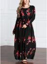 Rose Print Long Sleeve Elastic Waist Plus Size Maxi Dress