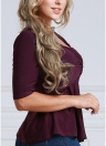 Women T-Shirt Ruched Tunic Sexy Top V-Neck Half Sleeves  Solid Slim Casual Tee