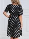 Women Plus Size Polka Dot Chiffon Dress Deep V Neck Short Sleeves Cross Overlap Vintage Dress