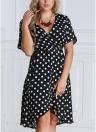 Женщины плюс размер Polka Dot шифон платье Deep V шеи с короткими рукавами Cross Overlap Vintage Dress