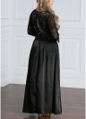 Women Plus Size Lace Long Sleeve Maxi Party Evening Prom Dress