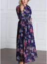 Women Floral Button Front Chiffon Long Sleeves Plus Size Dress