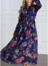 Abito a maniche lunghe in chiffon con maniche lunghe con bottoni floreali da donna