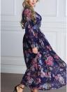 Women Floral Button Front Chiffon Long Sleeves Plus Size Dress