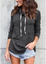 Women Solid Long Sleeve Sweatshirt High Neck Autumn Pullover T-Shirt Top