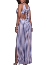 Long Summer Maxi Dress Striped Deep V-Neck High Splits Backless Club Party Dress