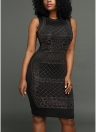 Rhinestone Midi Dress O-Neck Без рукавов Bodycon Nightclub Party Pencil Dress