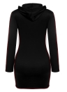 Hooded Drawstring Long Sleeve Casual Mini Pencil Dress