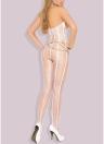 Сексуальная полосатая сетчатая жилетка для жилета с открытым сердцем Открытое бюстье Crotch Bodysuit Lingerie