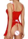 Sexy Mulheres de Natal vestido de espaguete Vestido G-String Lingerie