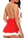 Sexy Women Santa Christmas Babydoll Set Fur Trim Mesh Splice Deep V Neck Backless Costume Nightwear G-String