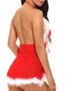 Sexy Women Santa Christmas Babydoll Set Fur Trim Mesh Splice Deep V Neck Backless Costume Nightwear G-String