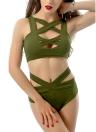 Mulheres sexy biquini maiô de fundo corte em v profundo na frente cintura alta sem mangas vermelho/verde