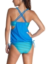 Sexy Stripe Print Scoop Tankini Set