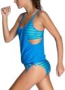 Mulheres sexy sungas listra imprimir cinta ajustável Scoop pescoço maiô maiô Shorts Tankini conjunto