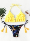 Sexy Women Bikini Set Ruffles Self-tie Two Pieces Frill Beach Swimwear