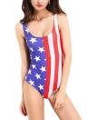 Nuovo donne sexy costume intero stelle strisce Stampa scollo costumi da bagno bikini Beachwear blu