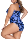 Print Plus Size Halter Tie Wireless Padded Monokini Swimsuit