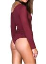 Sexy Frauen Bodycon Bodysuit eine Schulter Langarm Strumpfhosen Stretchy Top-Overall-Spielanzug Badeanzug