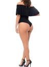 Le nuove donne sexy della tuta della tuta di un pezzo del costume da bagno fuori dalla spalla increspato solidi Beach Swimwear costume da bagno pagliaccetti brevi