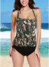 Sexy Bikini Mulheres Set Swimwear Swimsuit Camuflagem Imprimir Spaghetti Strap Tankini Two Piece Maiô Beachwear