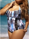 Mulheres One Piece Swimsuit Abstract Impressão Halter dobrado oco Out Swimwear Push Up Maiô Beachwear Monokini Azul
