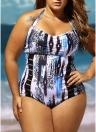 Mulheres One Piece Swimsuit Abstract Impressão Halter dobrado oco Out Swimwear Push Up Maiô Beachwear Monokini Azul