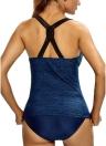 Hot Sexy Frauen-Badeanzug Normallack-Spaghetti-Bügel-Crossing Backless Bademode Push Up Bade Bademode Monokini Dunkelblau