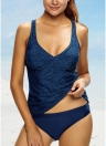Le donne calde del costume da bagno sexy di colore solido della cinghia di spaghetti Crossing Backless Swimwear spinge verso l'alto il bagno Beachwear Monokini Dark Blue