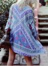 Couverture Femmes Kimono Cardigan Summer Chemisier en mousseline Boho Floral Imprimé long en vrac Plage, Bleu
