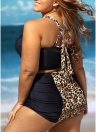 Donne Sexy Bikini a fascia Set Leopard contrasto Splice spinge verso l'alto il costume da bagno imbottito costume da bagno Plus Size due pezzi Costumi da bagno nero