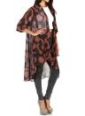 Chiffon Sun Moon Print Asymmetric Hem Loose Long Kimono