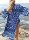 Donne lungo Stampa chiffon Beach Cover Up Split orlo aperto frontale Tre quarti di manica occultamento del bikini Beachwear Kimono