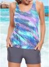 Sexy Plus Size donne costume da bagno dello Swimwear Tankini Top bicchierini di stampa tasche costume da bagno Beachwear della Rosa / Blu