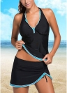 Le donne costume da bagno sexy Tankini con scollo a V Halter Backless Gonna inferiore increspato Beach Swimwear due pezzi costume da bagno Black1 / Black2 / Blu