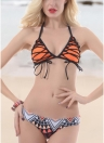 Frauen Sexy Halter Bandage Lace Up Cross Over Geometrische Druck Gepolsterte Push Up Low Waist Bikini Set